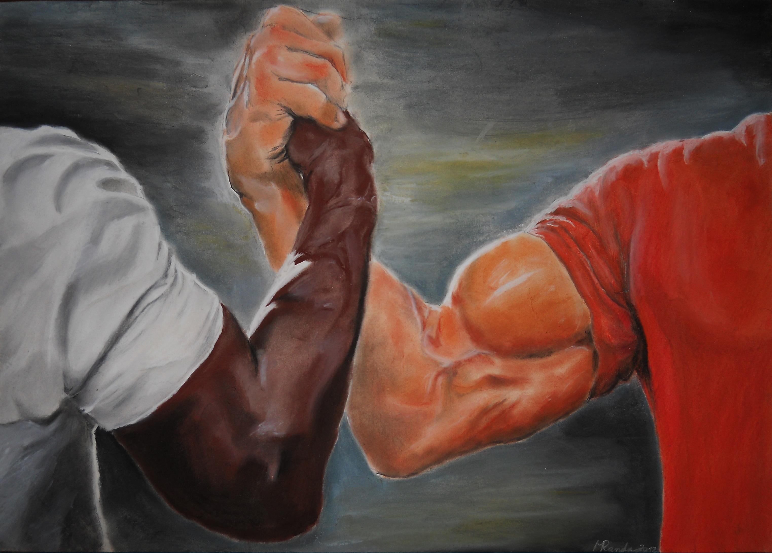 Handshake In Oil Painting